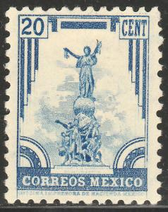 MEXICO 715, 20c INDEPENDENCE MONUMENT 1934 DEFINITIVE UNUSED, H OG. F-VF.