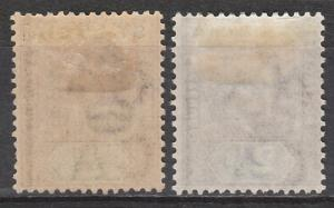 ST LUCIA 1902 KEVII 1/2D AND 21/2D WMK CROWN CA
