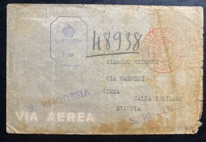 1943 Southern Rhodesia Prisoner of War POW Camp Censored Cover To Ethiopia