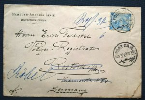 1902 Deutsche Seepost HAMBURG - AMERIKA LINIE Cover Port-Said > Rostock Germany