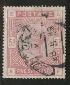 Great Britain Scott 108, 1884 Victoria 5sh CV$220 Faulty