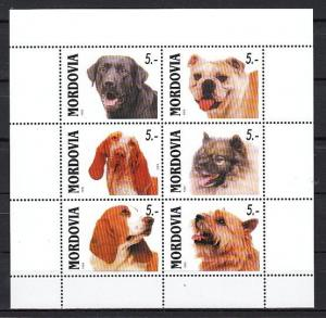 Mordovia, 1999 Russian Local. Dogs on a White sheet of 6.