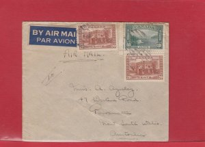 90 cent Trans-Pacific Airmail HMS Ship  censor **AUSTRALIA** CANADA cover