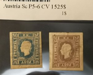 AUSTRIA  1858  ISSUE UNUSED FULL SET  MICHEL 16/17  = SCOTT P 5/6