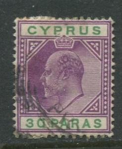 Cyprus - Scott 39 - KEVII - Definitives -1903 - Used - Single 30pa Stamp