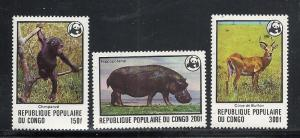 Congo Peoples Republic #456-8 mnh cv $29.00 Animals