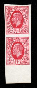 GB 1912 INTERNATIONAL STAMP EXHIBITION 1D IMPERF RED/CARMINE PAIR MNH