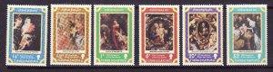 Turks & Caicos-Sc#331-6-unused NH set-Christmas-Rubens-Paintings-1977-