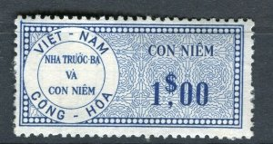 VIETNAM; Early CONG-HOA revenue issue Mint unused $1. value ( paper adhesion)