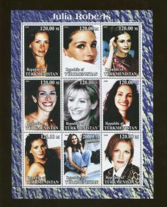 Turkmenistan Actor Julia Roberts Commemorative Souvenir Stamp Sheet