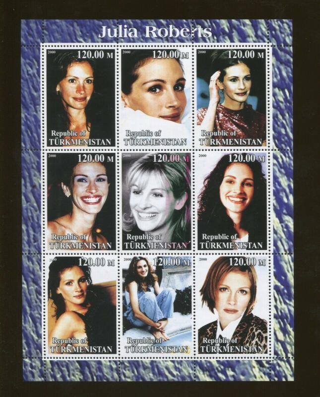 Turkmenistan Actor Julia Roberts Commemorative Souvenir Stamp Sheet