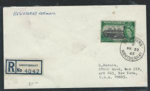 MONTSERRAT  (P0312B) QEII $2.40 1965 REG FROM ST. PETERS TO USA