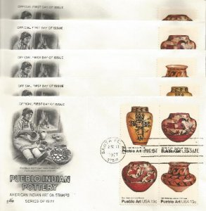 set of 5 Indian Art fdc