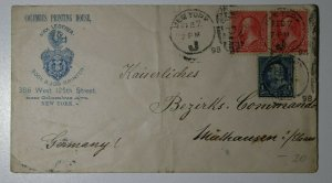 US Sc#252 or 267 264 To Germany Used On Cover Columbus Printing House NY 1898