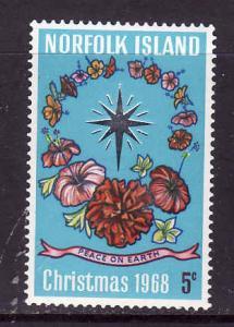 Norfolk Is.-Sc#121-Unused hinged set-Christmas-Flowers-1968-