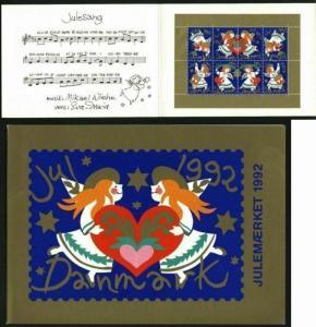 Denmark. Christmas Seals 1992. Souvenir Folder. Angels,Heart.