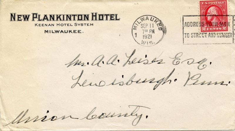2-Cent Washington On 1921 Ad Cover for the New Plankinton Hotel in Milwaukee, WI