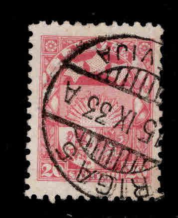 Latvia Scott 147 Used coat of arms stamp