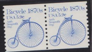 1901 Bicycle F-VF MNH transportation coil pair