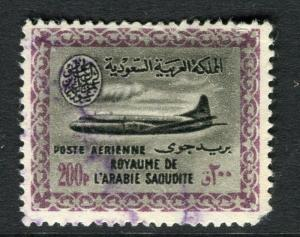 SAUDI ARABIA;  1960 early Cartouche I Vickers Air issue fine used 200p. value