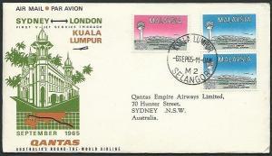 MALAYA 1965 Qantas first flight cover Kuala Lumpur to Sydney..............39073