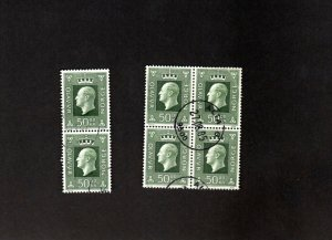 NORWAY USED BLOCK OF 4 AND A PAIR OF SCOTT # 543