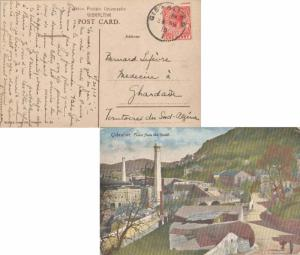 Gibraltar 1d KGV 1918 Gibraltar, 25 PPC (Town from the South) to Ghardaia, Al...