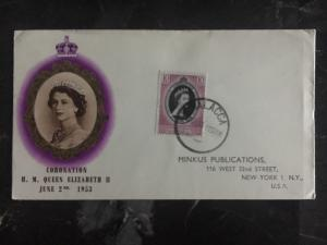 1953 Malacca Malaya First Day Cover QE II Queen Elizabeth coronation FDC