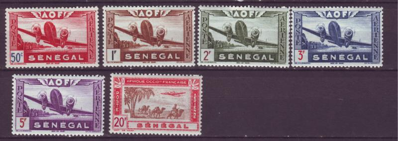 J12616 JLstamps 1942 french senegal mh, 1 mng parts of set #airplanes airmails