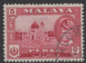 MALAYA PERAK SG153 1957 5c CARMINE-LAKE FINE USED