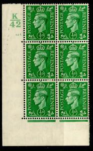 SG485, ½d pale green, M MINT.  Cat £12. CYL K42 125 NO DOT.