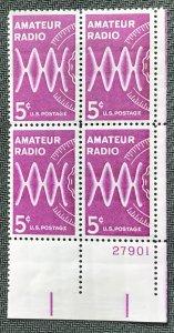 US #1260 MNH Plate Block of 4 LR Amateur Radio SCV $1.00 L23