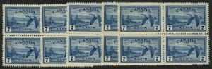 Canada - 1946 7c Canada Geese Airmail Blocks mint #C9