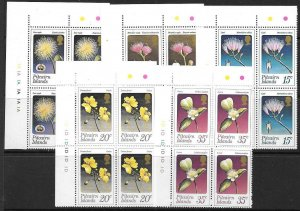 PITCAIRN ISLANDS SG126/30 1973 FLOWERS IN BLOCK OF 4   MNH