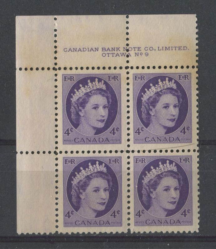 Canada #340 4c Bl. Violet 1954 Wilding Issue Plate 9 UL DF Ivory Smooth F-70 NH