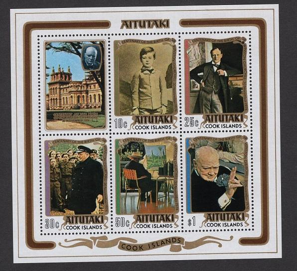 Aitutaki  #114a  MNH  1974  sheet  Churchill portraits