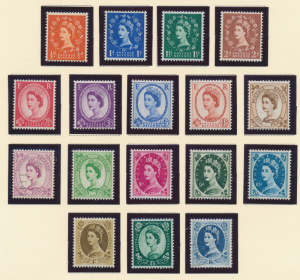 Great Britain Stamps Scott #353 To 369, Mint Never Hinged, #362 & 369 Are Use...
