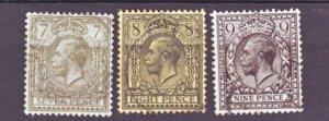 J22554 Jlstamps 1912-4 great britain used #168-70 kings