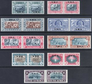 South West Africa 1938 3 SETS SG 105-113 Sc 133-34+B5-B11 LMM/MLH Cat £209($263)
