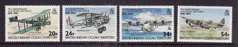 BIOT-Sc#136-9-unused NH set-Planes-RAF-Aircraft-1993-