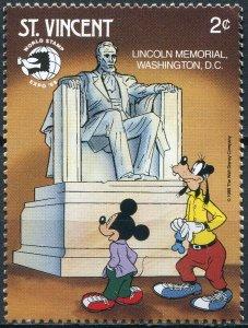 Saint Vincent 1989. Disney Characters. Lincoln Memorial (MNH OG) Stamp