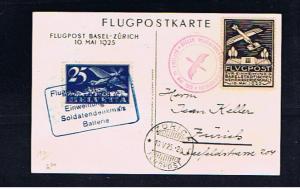 BASEL-ZURICH 1925 FLIGHT COVER