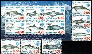 Greenland #329-34, 334a  F-VF Used CV $19.90 (X4875L)
