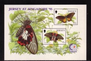 Jersey Sc 731a 1995 butterfly moth stamp sheet mint NH
