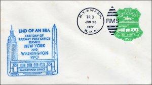 SC-U-582-B, LAST DAY RAILWAY POST OFFICE - New York and Washington 1977 Souvenir