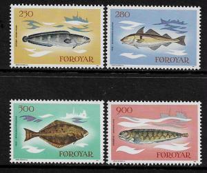 Faroe Is #97-100 MNH Set - Fishes