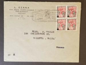 1963 Fort De France Martinique to Valletta Malta Advertising Air Mail Cover