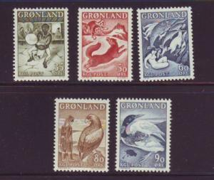Greenland Sc 41-45 1957-1969 Legends stamp set mint NH