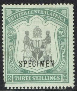 BRITISH CENTRAL AFRICA 1897 ARMS 3/- SPECIMEN