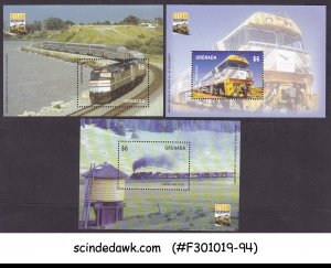 GRENADA - 2004 STEAM BICENTENARY / TRAINS SET OF 3 MIN/SHT MNH